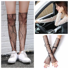 New Fashion 2018 Summer Anti Slip Sun Protection Design Thin Long Arm Sleeve Female Lace