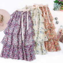 Dresses women printing flower chiffon skirt casual dresses