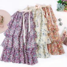 Dresses women printing flower chiffon skirt casual dresses