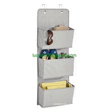 Over-the-Door Fabric Closet Storage Organizer for Purses, Handbags, Shoes, Sunglasses - 3 Pockets, Gray/Cream