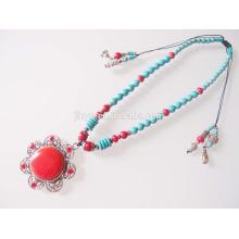 Bohemian Perlen Halskette Boho Türkis Perlen Halskette