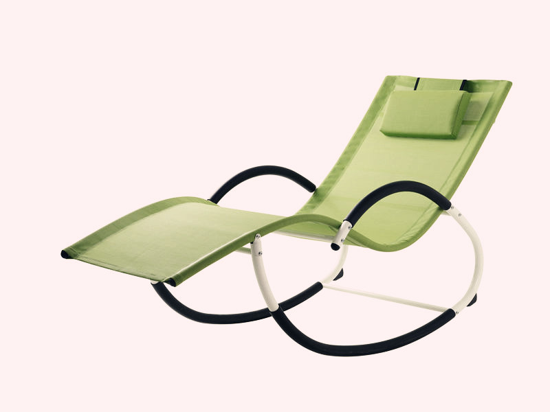 G shape steel frame rocking chair