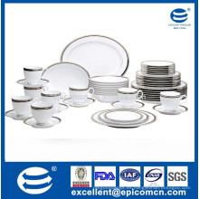 20pcs serie redonda de plata de porcelana de plata conjunto de vajilla conjunto