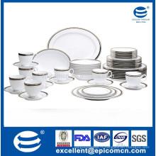 Ensemble de vaisselle en porcelaine royale en argent série ronde 20pcs