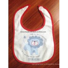 Рекламный мультяшный хлопок Terry Custom Printing Velcro Baby Bib с принтом детский фартук