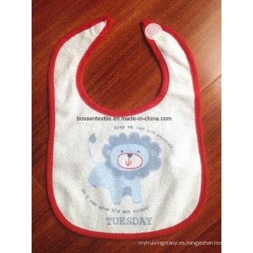 Delantal impreso del bebé del babero del bebé del velcro de la impresión de encargo de Terry del algodón de la historieta promocional