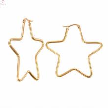 Personalizado grande estrela em forma de brincos de ouro jóias