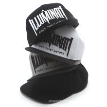 Sombrero de snapback de ala plana bordado negro de alta calidad