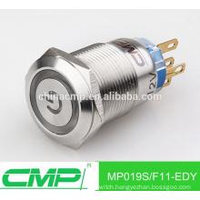 Installation diameter 19mm CMP metal waterproof power button illuminated ip67