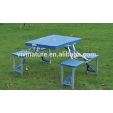 mesa de piquenique dobrável de plástico e conjuntos de cadeira