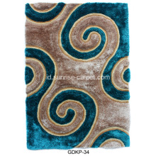 Polyester Soft & Silk Shaggy Carpet dengan 3D Pattern