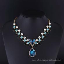 Collar de diamante de zafiro grande de moda para las mujeres