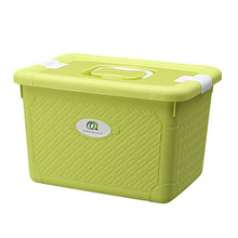 Fashionable Weave Design Plastic Storage Box with Handle (SLSN044)