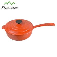 panela de fritar esmalte de ferro fundido com tampa / frigideira de esmalte de ferro fundido com tampa