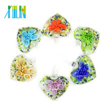 Transparent Murano Lampwork Glass Heart Pendants 12pcs/box, MC0051