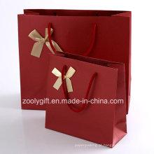 Qualidade texturizada arte sacos de papel com fita arco / cor vermelha papel de casamento saco de presente