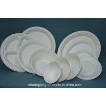 Sugarcane Pulp Tableware Placa Bowl Clamshell Bandeja biodegradável
