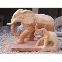 Sculpture de jardin animal extérieur statue de l'éléphant en grès rouge