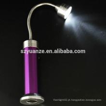 Base magnética em aço inoxidável ganso pescoço levou lanterna