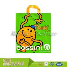 Diseño personalizado Flexiloop mango biodegradable Ldpe sello térmico económico plástico bolsa con su propio logotipo