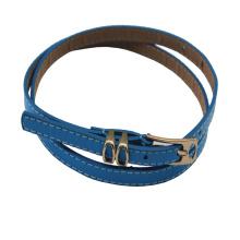 Hot Sale Blue Blue estreita PU cintos de couro para o vestido