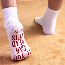 Wholesale custom design red English letter ankle socks knitted for women