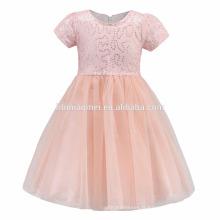 Conceptions roses jaunes de bébé de bébé avec la robe de la jeune fille de fleur de robe de communion de filles de paillettes