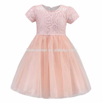 Rosa gelb Baby Kleider Designs mit Pailletten Mädchen Heilige Kommunion Kleid Blumenmädchen Kleid