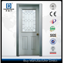 Half Frosted Decorative Caming Inserted Tempered Glass Steel Prehung Front Door