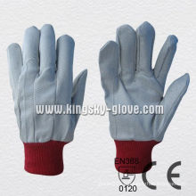 Polyester Knit Wrist Drill Cotton Work Gloves-2100. Rd