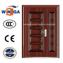 Puerta de acero de metal de seguridad exterior de mercado medio (W-SZ-07)
