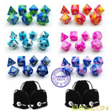 Bescon 6X7 42pcs Polyhedral Dice Set-6 Unique Two-Tone Gemini Polyhedral 7-Die Sets with Pouches for Dungeons and Dragons DND