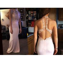 Колонки этаж Длина scoop шеи Jersey платье для выпускного вечера с бисер аппликации кружева блестками