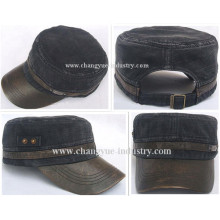 Leather brim washed jeans blank design flat military hat