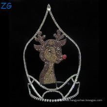 Tiara de los ciervos del Rhinestone del diseño de la manera para los cabritos, coronas lindas del muchacho, tiaras del metal de los cabritos