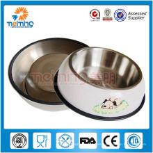 alimentador de perro de acero inoxidable con anillo de goma antideslizante