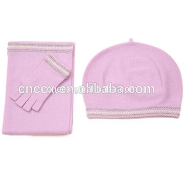 PK17ST279 Cashmere knitted scarf hat glove set