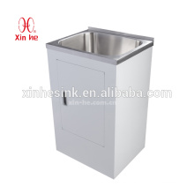 Australia New Zealand Style 30L/38L/45L Stainless Steel Laundry sink tub with white color board cabinet with single door