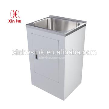 Australia Nueva Zelanda Estilo 30L / 38L / 45L Tina fregadero de lavandería de acero inoxidable con gabinete de tablero de color blanco con una sola puerta