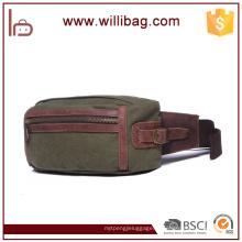 Mensageiro de lona vintage cintura caminhadas viagem zíper lona bolsa de cintura