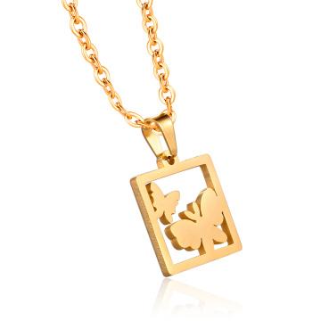 24-Каратное Золото Теге Бабочка Ювелирные Изделия Ожерелье Цепи Подвески Изготовления Кулона