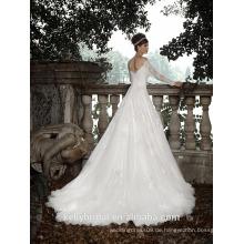 ZM16011 Spitze-Korsett-Hochzeits-Kleider mit langen Bügel-böhmischen Hochzeits-Kleidern eine Linie Strand-Backless Brautkleider
