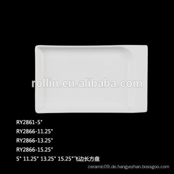 Durable Porzellan Rechteckige Platten für Restaurant