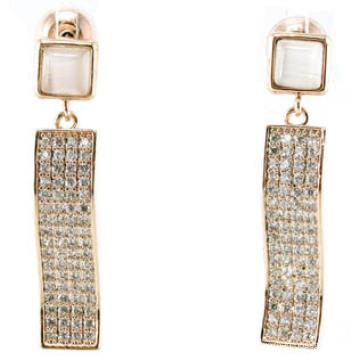 Buena calidad y joyería de moda 3A CZ 925 pendiente de plata (E6512)