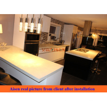 Foto real do cliente do Canadá após a instalação, gabinete de cozinha de madeira de alta qualidade