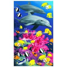 toalla de playa con estampado de algodón de la serie Dolphins