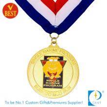 China Costume de alta qualidade de revestimento de ouro Baking Varnish executar medalha em liga de zinco