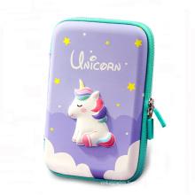 Custom Cartoon Pencil Box Cute EVA 3D Zipper Unicorn Pencil Case For Girls