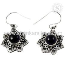 Imperious black amethyst gemstone jewelry 925 sterling silver earring indian silver jewellery
