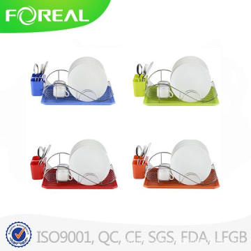 Colorful Chrome Dish Rack with Drainer